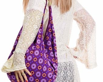 HIPPY BEACH BAG, boho sack bag, slouch shoulder bag, purple psychedelic festival handbag, hippie sac, cotton bohemian hobo bag