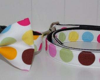 ON SALE! Last ones left! Bow Tie Collar, or Collar and Leash Set, Coloured Spots