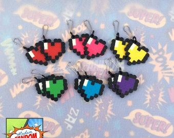 Party Favors - Hearts Valentines for Kids Zipper Pull Keychains Clips, Red Pink Yellow Green Blue and Purple, Heart Wedding Favors