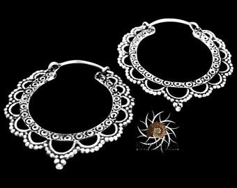 Silver Earrings - Silver Hoops - Gypsy Earrings - Tribal Earrings - Ethnic Earrings - Indian Earrings - Ttibal Hoops - Indian Hoops (ES16)