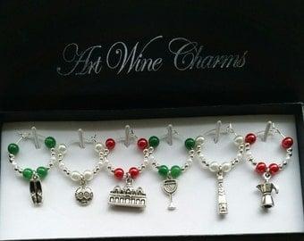 6 Italian themed Wine Charms, Italian,Wine Charms,Italian Decor,Gift for an Italian,Travel Decor,Coach Gift,Italy Gift, Italian themed Party