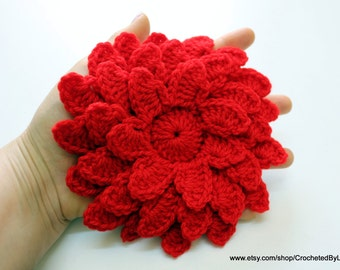 Crochet Flower, Large Flower, Red Flower Crochet, Women's Crochet Gifts, Crochet Flower Applique, Big Flowers, Hand Crochet, Unique Crafts