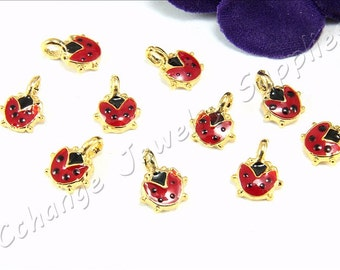 Tiny Ladybug Charm, 5 pcs Gold Ladybug Charms, Red Enamel Ladybird Charm, Mini Ladybird Charms, Ladybird Charms, Ladybug Charm Findings