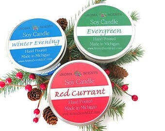 Holiday Soy Candles - soy candle sets -  candle gifts  - scented candles - Christmas candles - candles in tins - Made in Michigan