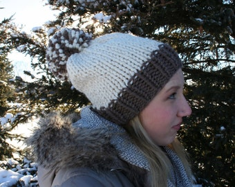 Hand Knit Slouchy Pom Hat - The Excelsior Pom Hat - Starlight & Taupe - WARM + COZY!