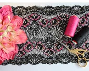 Stretch lace trim, black lace, black stretch lace, black lace trim, black narrow lace, narrow stretch lace, lace trim, lace yardage