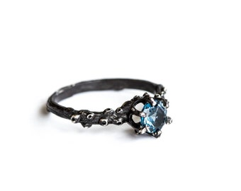 London blue topaz barnacle ring, twig engagement ring, sea garden nature engagement ring