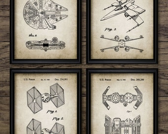 Star Wars Patent Print Set Of 4 - Millennium Falcon Spacecraft - TIE Fighter - Rebel X-Wing - Set Of Four Prints #412 -INSTANT DOWNLOAD