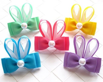 Bunny Ears Hairbow ~ Toddler Hair Clip ~ Easter Bunny Hair Bow ~ Girls Barrette ~ Bunny Ribbon Sculpture ~ Small Hairclip ~ Easter Bow