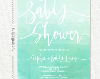 turquoise baby shower invitations girl or boy, blue green mint watercolor printable baby shower invitation, gender neutral shower invite 279