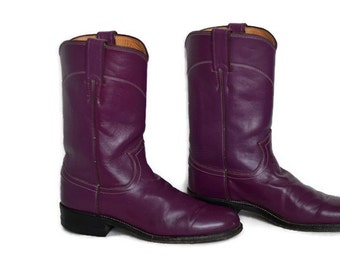 90's Vintage Justin Classic Roper Plum Color Women's/Cowboy Western Boots/ Rockabilly