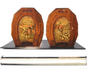 Vintage Wood Horseshoe Bookends
