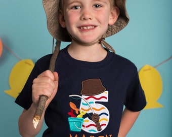 Boy's Fishing Birthday Shirt with Fishing Rod, Number and Name