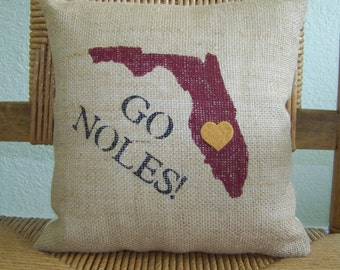 Florida State University pillow, Graduation gift, Seminoles pillow, Florida state pillow, Dorm room decor, FREE SHIPPING!