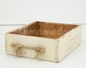 Rustic crate photo prop, vintage style wood box, newborn photography prop, newborn props, photography props, creamy box