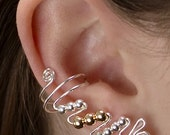 Ear Cuffs, pair, Sterling Silver and 14K Gold Filled, elegant and comfortable, no tarnishing or skin sensitivity. Contemporary earrings.