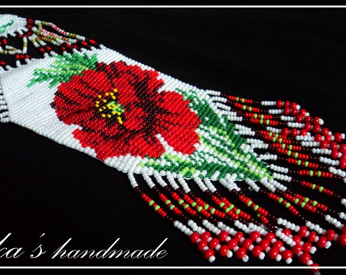 Ethnic woven beaded necklace Gerdan with national ethnic Ukrainian pattern in traditional Ukrainian colors with red poppy flowers