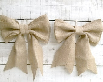 Aisle Marker - Burlap Bows - Wedding Bows - Pew End Bows - Burlap Chair Bows - Bow Decoration - Burlap Wedding Decor - Set of 6