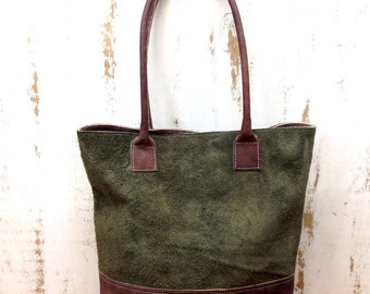 Sale!!! Green leather Tote bag leather bag Suede Leather shopper bag Distressed leather market tote Bag - Green Suede tote