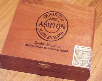 Wooden Cigar Box/ Ashton Hand Made in Dominican Republic/Dove Tailed Construction/Beautifu Wood/Cigar SmokerCollectible/Uniquestorageunder15