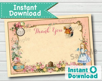 Alice in Wonderland thank you card. INSTANT DOWNLOAD. Elegant vintage pink mad hatter tea party thank you note. 4x6 inch. KB166 KB165 BS112