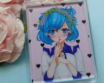 Blue Haired Anime/Manga Girl Keychain/Keyring, Anime Keyring, Manga Keyring, Kawaii, Anime, Manga, Cute Keyring, Photo Keyring
