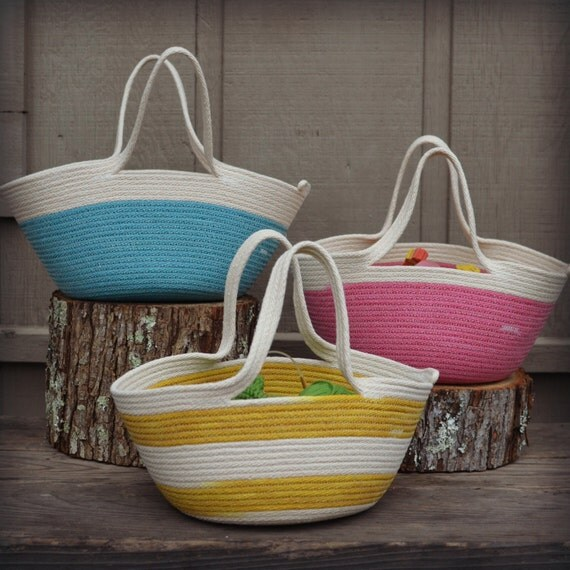 Knitting Basket With Handles : Project bag coiled rope basket with handles natural