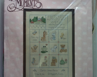 Precious Moments Cross Stitch Kit 131-15 Baby Sampler Announcment from 1991
