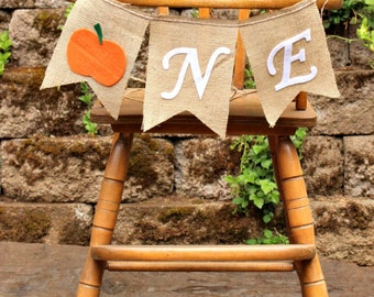 PUMPKIN First Birthday Banner Halloween Burlap Bunting  Garland Highchair Banner Fall  Pumpkin Truck Charlie Brown Flag Banner Photo Prop