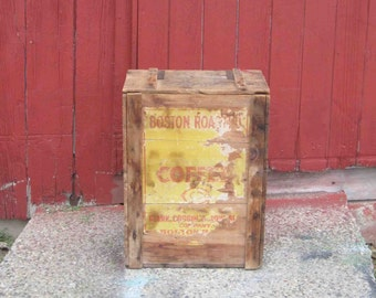 Vintage Large Crate Boston Roasted Coffee Imported And Roasted By Clark,Coggin & Johnson Co. Boston,Mass,Early 1900s,Antique