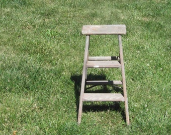 Vintage Old Wooden Folding Step Stool Barn Fined,Weathered And Primitive