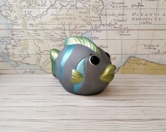 Gray Fish Piggy Bank, Gray Piggy Bank, Piggy Bank, Bank, Baby Bank, Baby Piggy Bank, Nautical Nursery Decor, Fish, Baby Shower Gift