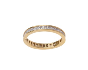 Full Round Band, Baguette Band Ring, Silver Eternity Band,  Square pave zircons, Stackable Band Ring