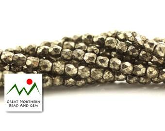 3MM Czech Fire Polish,50 Piece Strand,Antique Chrome,Czech Glass Beads,Czech Glass,Czech Beads,CZE010439