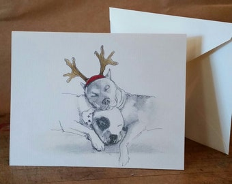 American Staffordshire Terrier Holiday Card