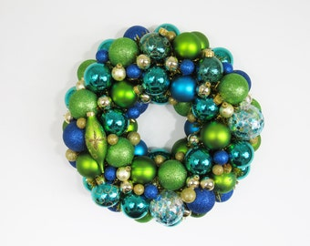 Peacock Christmas Ornament Wreath - Blue and Green Holiday Wreath - Christmas Decor