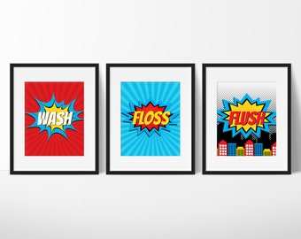 superhero bathroom sets. Superhero Bathroom Decor  Kids Super Hero bathroom Etsy