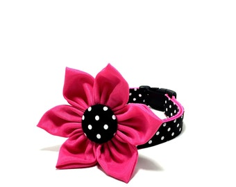 Polka Dot Hot Pink Dog Collar - Polka Dot Hot Pink Cat Collar - Collar with Matching Flower Bow