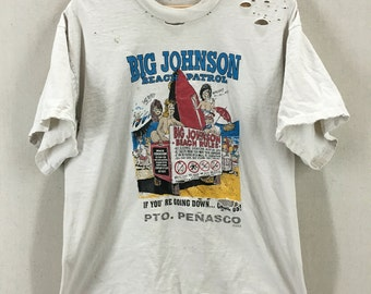 Vintage Super Distressed Big Johnson Beach Patrol Big Breasts Funny Tshirt Size L