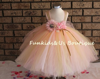 Pink and Gold Flower Girl Dress  -Full length Under the sea themed  Birthday  Tutu Dress 1t 2t 3t 4t 5t