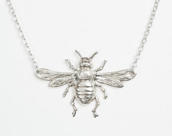 Bee necklace silver oversized bee necklace silver bee pendant jewelry bumblebee necklace bug necklace bug jewelry