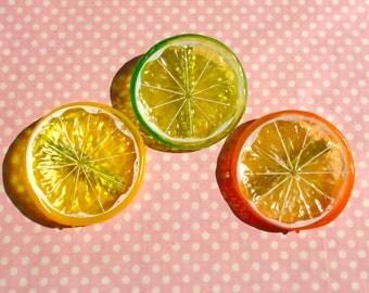 Kawaii citrus fruit hair clips
