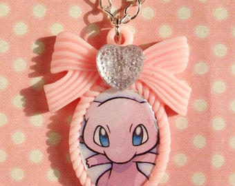 OOAK Super cute Mew pastel pink cameo necklace