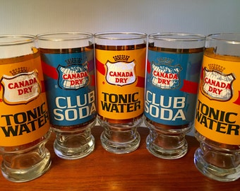 Five Canada Dry Tonic Water and Club Soda tumbler glasses