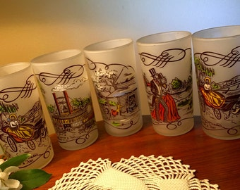 """Five """"Currier and Ives"""" Gay Fad frosted glasses from the fifties"""
