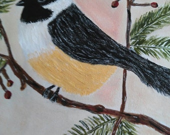 Acrylic and Watercolor  Chickadee on Branch