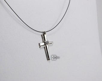 Industrial Cross Pendant with CZ, in 925 Sterling Silver