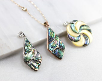 Abalone Necklace/ Silver Paua Pendant/ Silver Abalone Shell/ Paua Shell Necklace/ Paua Shell Jewelry