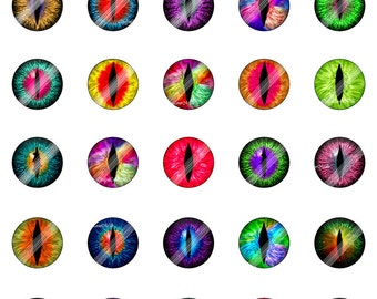 3D Dragon Eyes' Rainbow Digital Collage Sheet,CEB12,1 inch,25mm,Animal,Creature,Cat,Snake,Reptile,Printable Circles download,Round,Cabochon
