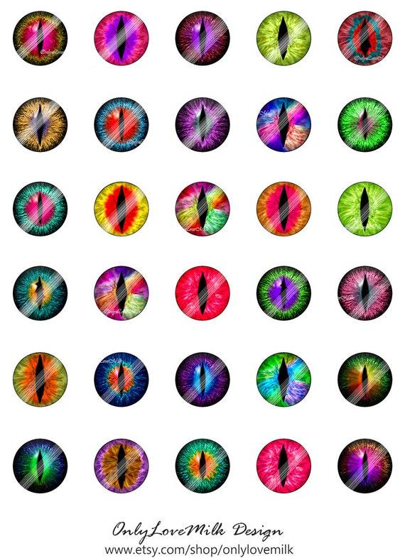 3d Dragon Eyes Rainbow Digital Collage Sheetceb121